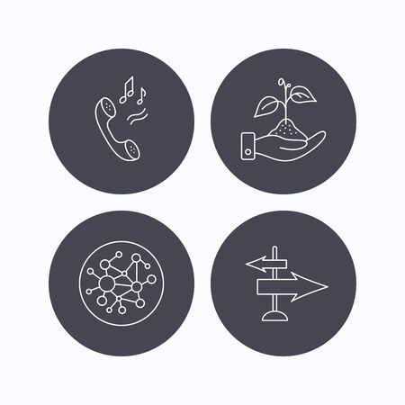 global direction: Phone, global network and direction icons. Save nature linear sign. Flat icons in circle buttons on white background. Vector Illustration