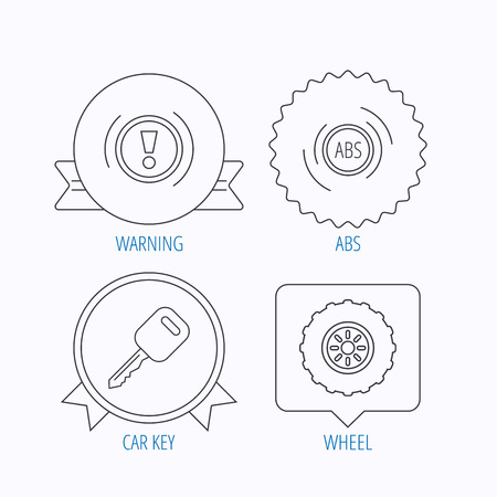 abs: Car key, abs and wheel icons. Warning ABS, attention linear signs. Award medal, star label and speech bubble designs. Vector