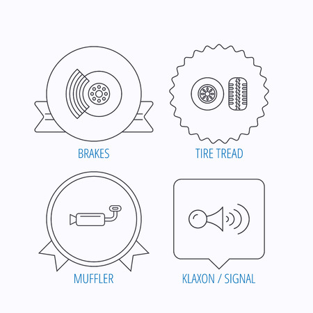brakes: Tire tread, brakes and steering wheel icons. Muffler, klaxon signal linear signs. Award medal, star label and speech bubble designs. Vector