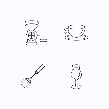 meat grinder: Coffee cup, whisk and wineglass icons. Meat grinder linear sign. Flat linear icons on white background. Vector