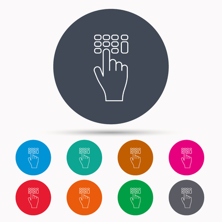 pin code: Enter pin code icon. Click hand pointer sign. Icons in colour circle buttons. Vector
