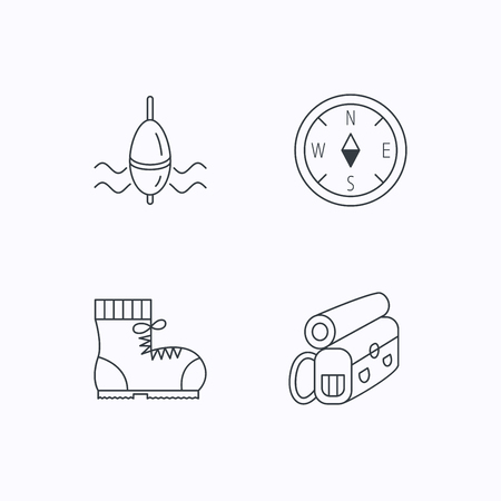 fishing float: Compass, fishing float and hiking boots icons. Backpack linear sign. Flat linear icons on white background. Vector Illustration