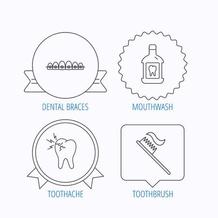 enjuague bucal: Dolor de muelas, aparatos dentales y los iconos de enjuague bucal. signo lineal cepillo de dientes. Medalla de la concesi�n, la etiqueta estrella y dise�os de bocadillo. Vector