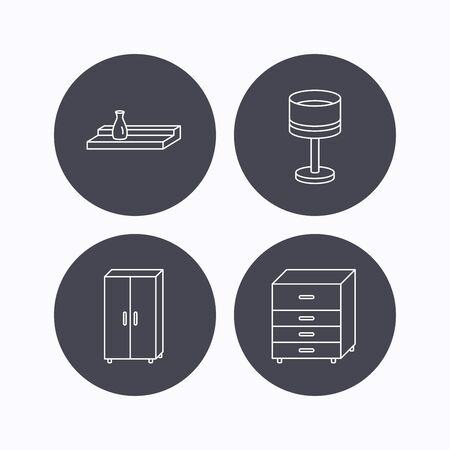 chest wall: Table lamp, cupboard and wall shelf icons. Chest of drawers linear sign. Flat icons in circle buttons on white background. Vector