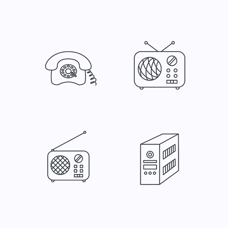 pc case: Radio, retro phone and pc case icons. Vintage radio linear sign. Flat linear icons on white background. Vector