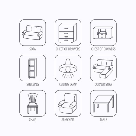 shelving: Corner sofa, table and armchair icons. Chair, ceiling lamp and chest of drawers linear signs. Shelving, furniture flat line icons. Flat linear icons in squares on white background. Vector
