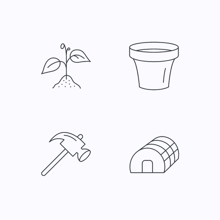 hothouse: Sprout plant, hammer and pot icons. Hothouse linear sign. Flat linear icons on white background. Vector