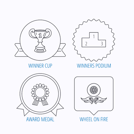 race winner: Winner cup, podium and award medal icons. Race symbol, wheel on fire linear signs. Award medal, star label and speech bubble designs. Vector Illustration