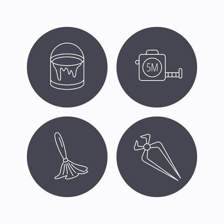 nippers: Tape measure, bucket of paint and paint brush icons. Nippers linear sign. Flat icons in circle buttons on white background. Vector Illustration