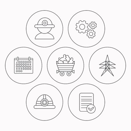 searcher: Worker, minerals and engineering helm icons. Electricity station linear sign. Check file, calendar and cogwheel icons. Vector Illustration