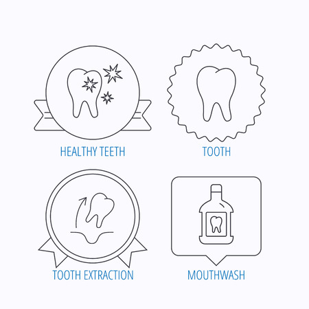 tooth extraction: Tooth, mouthwash and healthy teeth icons. Tooth extraction linear sign. Award medal, star label and speech bubble designs. Vector Illustration