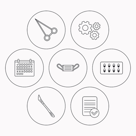 medical check: Medical mask, capsules and scalpel icons. Peans forceps linear sign. Check file, calendar and cogwheel icons. Vector Illustration