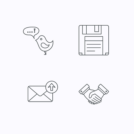 outbox: Outbox mail, message and handshake icons. Floppy disk linear sign. Flat linear icons on white background. Vector