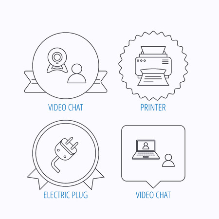 portative: Video chat, printer and electric plug icons. Video conference linear sign. Award medal, star label and speech bubble designs. Vector