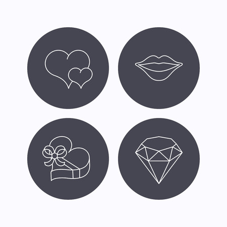 brilliant heart: Love heart, brilliant and gift box icons. Kiss lips linear sign. Flat icons in circle buttons on white background. Vector Illustration