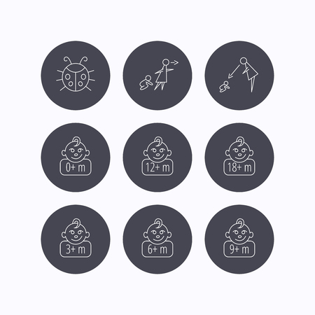 6 9 months: Infant child, ladybug and toddler baby icons. 0-18 months child linear signs. Unattended, parents supervision icons. Flat icons in circle buttons on white background. Vector