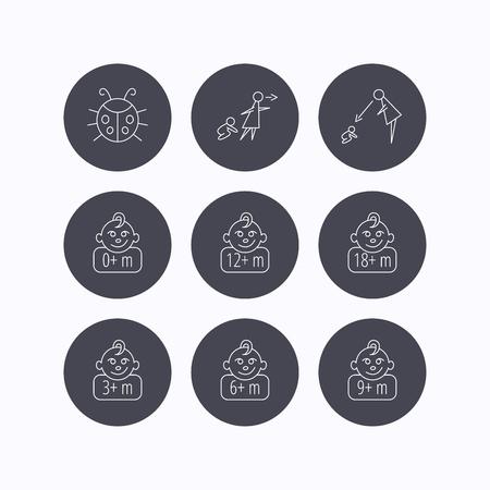 supervisión: Niño infantil, mariquita y bebé niño iconos. 0-18 meses signos lineales niño. Desatendido, iconos padres de supervisión. iconos planos de botones de círculo sobre fondo blanco. Vector