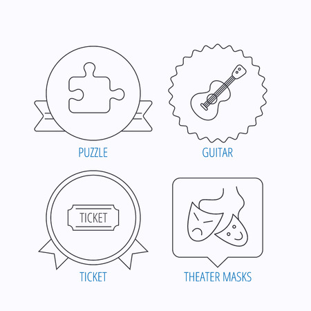 theater masks: Puzzle, guitar music and theater masks icons. Ticket linear sign. Award medal, star label and speech bubble designs. Vector Illustration