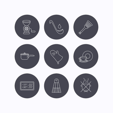 Soup ladle, potholder and kitchen utensils icons. Salt, not boil and saucepan linear signs. Meat grinder, water drop and coffee cup icons. Flat icons in circle buttons on white background. Vector Illustration