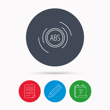 brakes: ABS icon. Brakes antilock system sign. Calendar, pencil or edit and document file signs. Vector Illustration