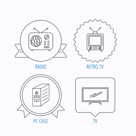 pc case: Retro TV, radio and PC case icons. Computer linear sign. Award medal, star label and speech bubble designs. Vector Illustration