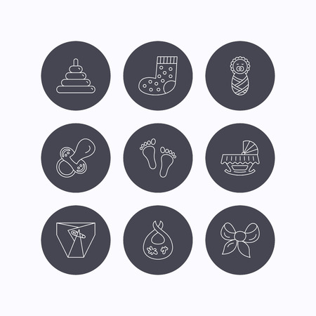white socks: Pacifier, diapers and newborn icons. Footprint, socks and dirty bib linear signs. Pyramid toy, cradle bed flat line icons. Flat icons in circle buttons on white background. Vector Illustration