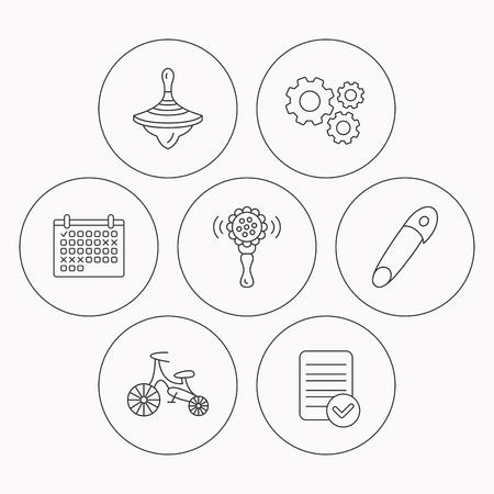 molinete: La primera bicicleta, zapateros y los iconos de juguete sonajero. Pin se�al lineal. Comprobador de archivo, calendario y los iconos de la rueda dentada. Vector