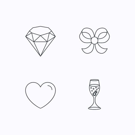 shopping champagne: Love heart, brilliant and engagement ring icons. Bow-knot linear sign. Flat linear icons on white background. Vector