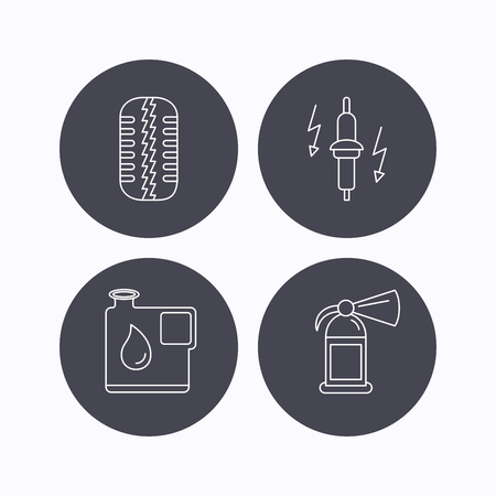 fire plug: Wheel, fire extinguisher and spark plug icons. Fuel jerrycan, tire tread linear signs. Flat icons in circle buttons on white background. Vector