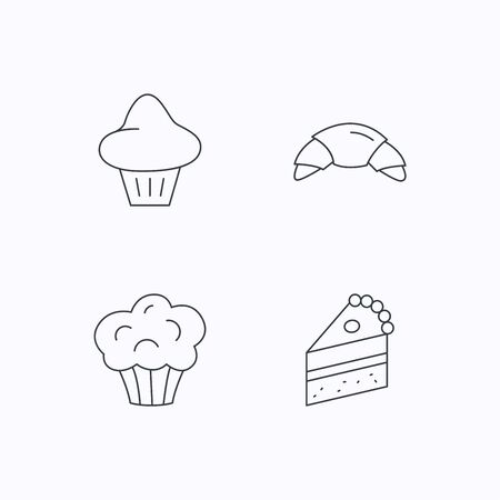 trozo de pastel: Croissant, brioche and piece of cake icons. Sweet muffin linear sign. Flat linear icons on white background. Vector Vectores