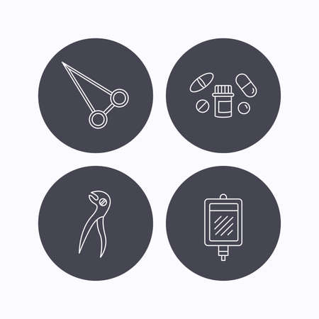 forceps: Medical pills, blood and dental pliers icons. Peans forceps linear sign. Flat icons in circle buttons on white background. Vector