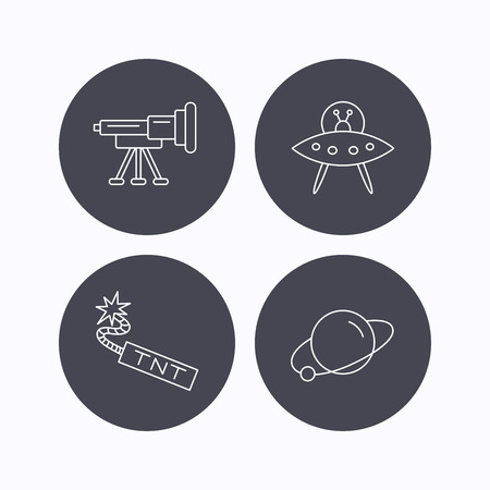 tnt: Ufo, planet and telescope icons. TNT dynamite linear sign. Flat icons in circle buttons on white background. Vector