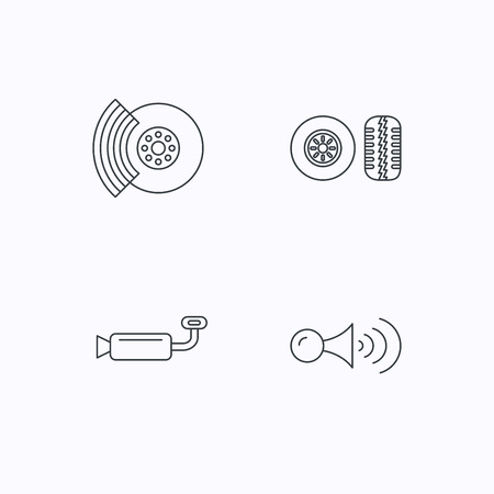 tread: Tire tread, brakes and steering wheel icons. Muffler, klaxon signal linear signs. Flat linear icons on white background. Vector