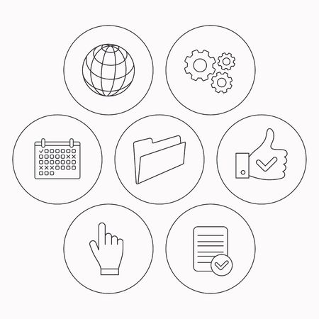 admire: Folder, press hand and world globe icons. Social network linear sign. Check file, calendar and cogwheel icons. Vector Illustration