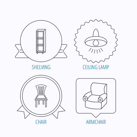 shelving: Chair, ceiling lamp and armchair icons. Shelving linear sign. Award medal, star label and speech bubble designs. Vector