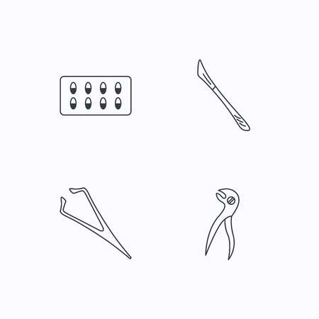 tweezers: Scalpel, capsules and dental pliers icons. Eyebrow tweezers linear sign. Flat linear icons on white background. Vector