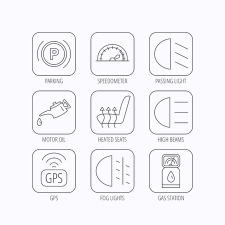 heated: Motor oil, passing fog lights and gps icons. Speedometer, parking and gas station linear signs. Heated seats icon. Flat linear icons in squares on white background. Vector