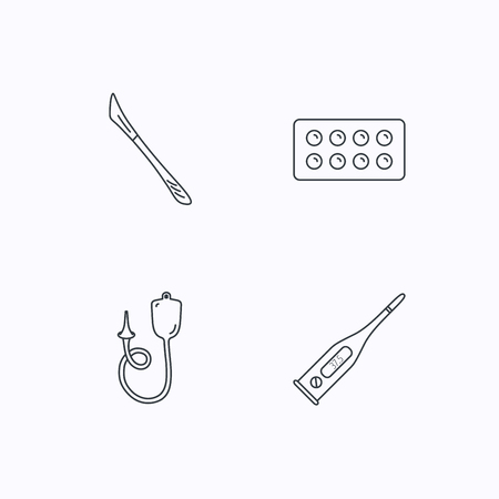 electronic background: Electronic thermometer, tablets and scalpel icons. Enema linear sign. Flat linear icons on white background. Vector