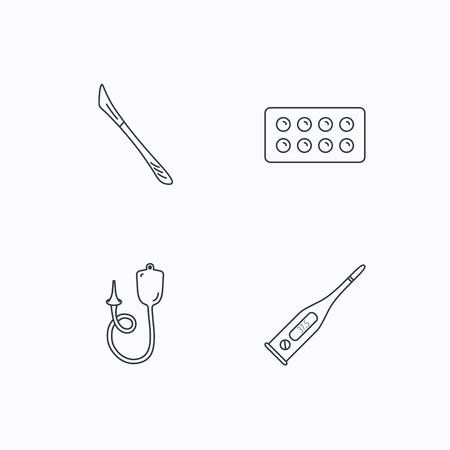 einlauf: Elektronische Thermometer, Tabletten und Skalpell-Icons. Enema linear Geben unterzeichnen. Flache lineare Symbole auf weißem Hintergrund. Vektor Illustration