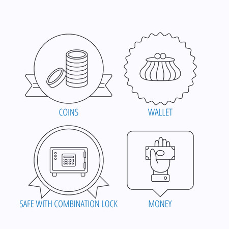 give money: Give money, cash money and wallet icons. Safe box, coins linear signs. Award medal, star label and speech bubble designs. Vector Illustration