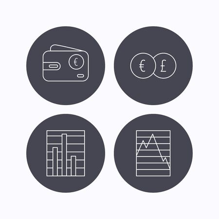 deceleration: Currency exchange, chart and euro wallet icons. Statistics graph linear signs. Flat icons in circle buttons on white background. Vector