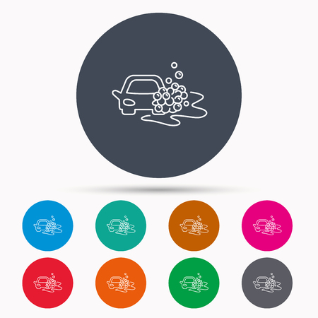 foam bubbles: Car wash icon. Cleaning station sign. Foam bubbles symbol. Icons in colour circle buttons. Vector