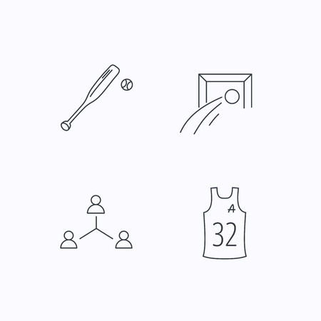 assistant: Football, team assistant and baseball icons. Teamwork linear sign. Flat linear icons on white background. Vector