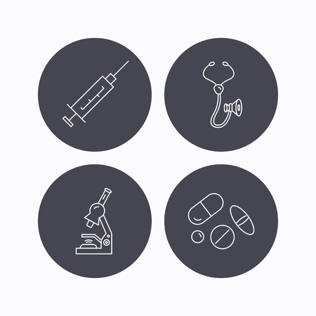 analyses: Syringe, stethoscope and microscope icons. Medical pills linear sign. Flat icons in circle buttons on white background. Vector Illustration