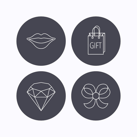 bowknot: Lips kiss, brilliant and gift icons. Bow-knot linear sign. Flat icons in circle buttons on white background. Vector Illustration