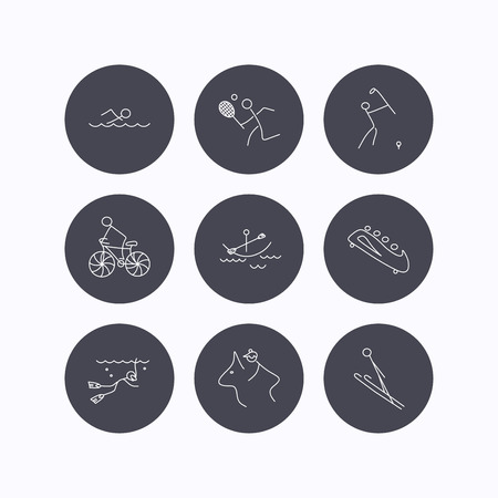 boating: Swimming, tennis and golf icons. Biking, diving and horseback riding linear signs. Ski jumping, boating and bobsleigh icons. Flat icons in circle buttons on white background. Vector Illustration