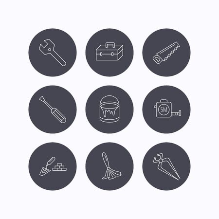 nippers: Wrench key, screwdriver and paint brush icons. Toolbox, nippers and saw linear signs. Finishing spatula icon. Flat icons in circle buttons on white background. Vector