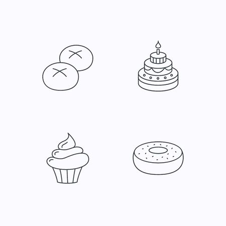 bread rolls: Cupcake, cake and bread rolls icons. Sweet donut linear sign. Flat linear icons on white background. Vector Illustration