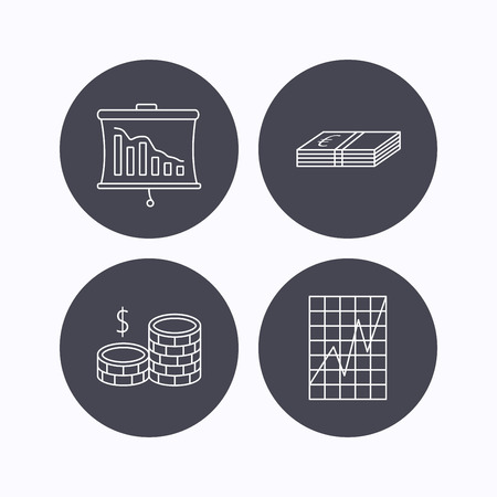 deceleration: Chart, cash money and statistics icons. Coins linear sign. Flat icons in circle buttons on white background. Vector