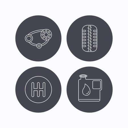 timing belt: Wheel, manual gearbox and timing belt icons. Fuel jerrycan, manual transmission linear signs. Flat icons in circle buttons on white background. Vector Illustration